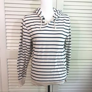 J Crew nautical navy striped hoodie EUC
